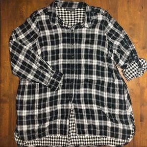Lane Bryant Button Down Flannel Tunic